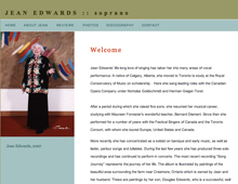 Jean Edwards website design